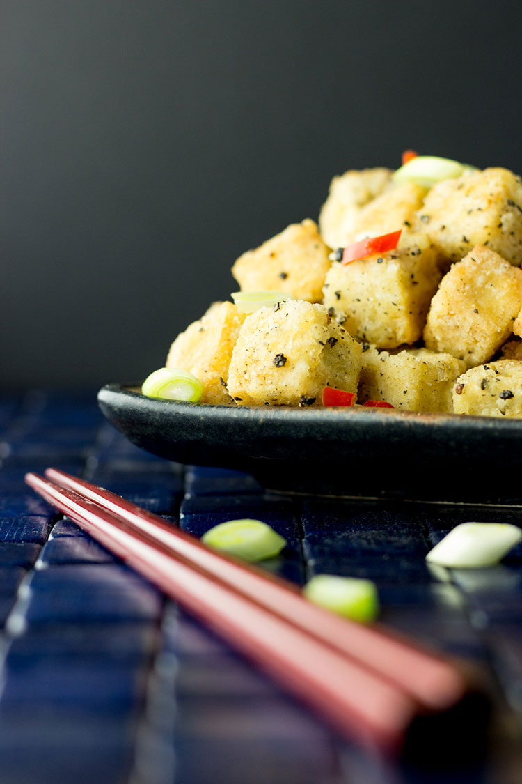 Crispy salt and pepper tofu with a cucumber chilli dipping sauce.