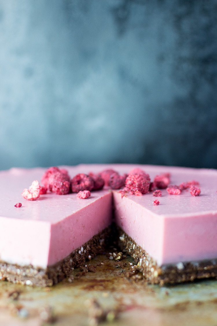 Raspberry, lime and coconut cheesecake.