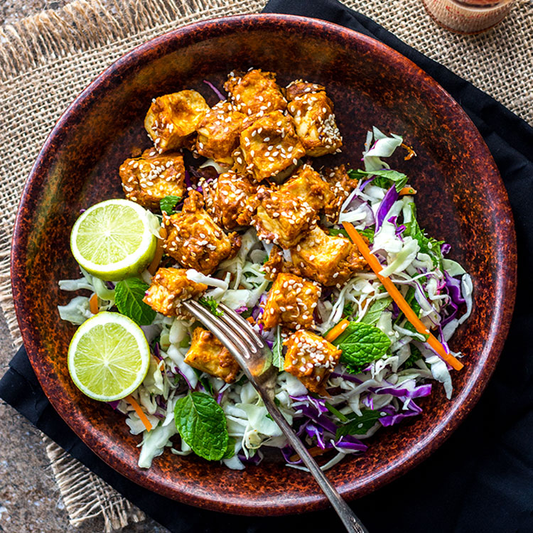 Oven-baked spicy peanut butter tofu