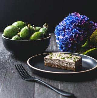 Feijoa and mint vegan cheesecake (gluten free).