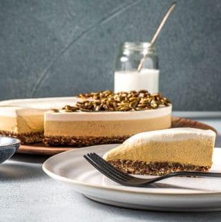 Vegan pumpkin pie cheesecake.